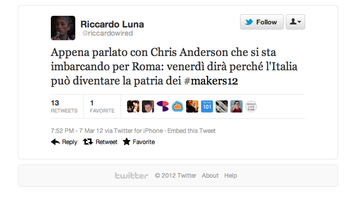 Tweet by Riccardo Luna
