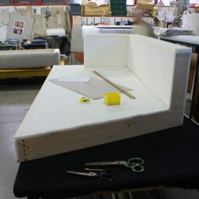 SOLID WOOD BASE COVERED WITH POLYURETHANE FOAM