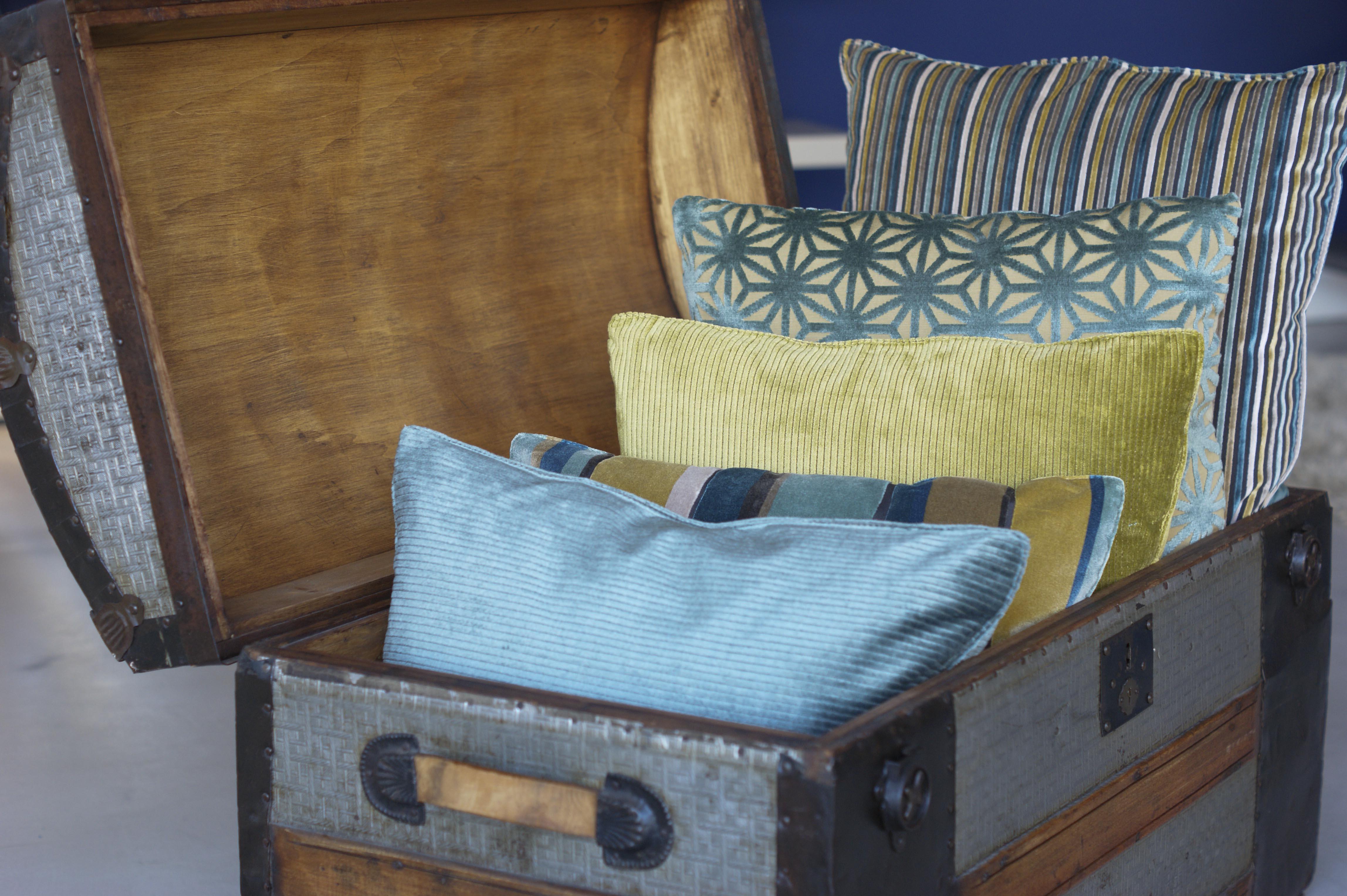 Berto pillows with Romo fabrics