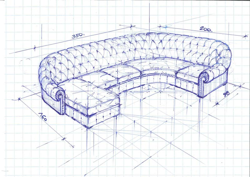 BertO project: chesterfield corner sofa