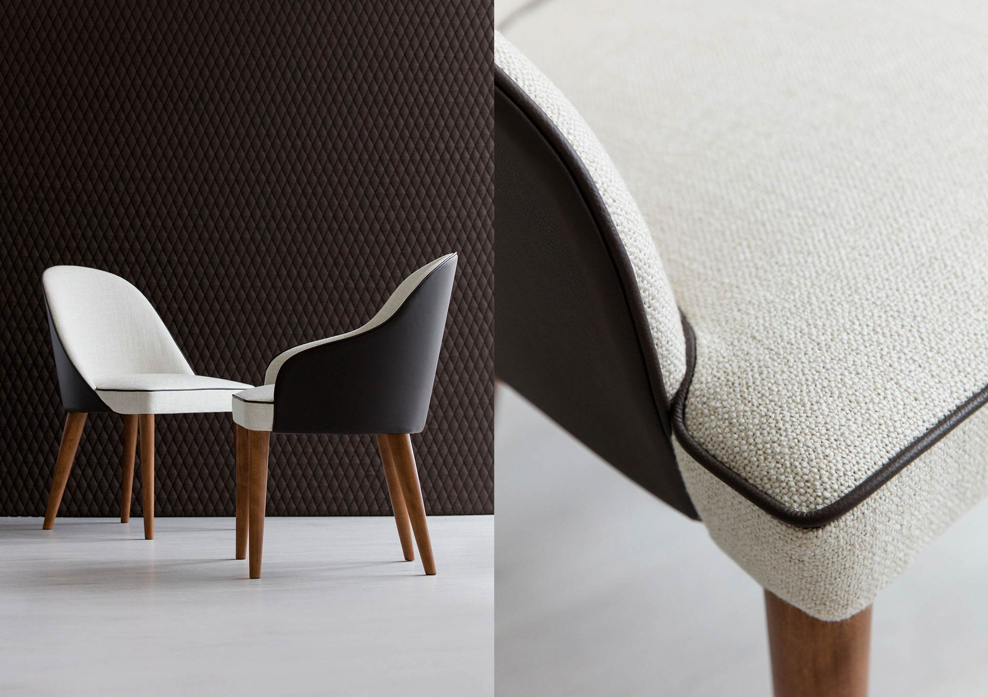 Judy chair with fabric and leather cover