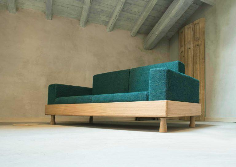 BertO green sofa to the Fuori Salone
