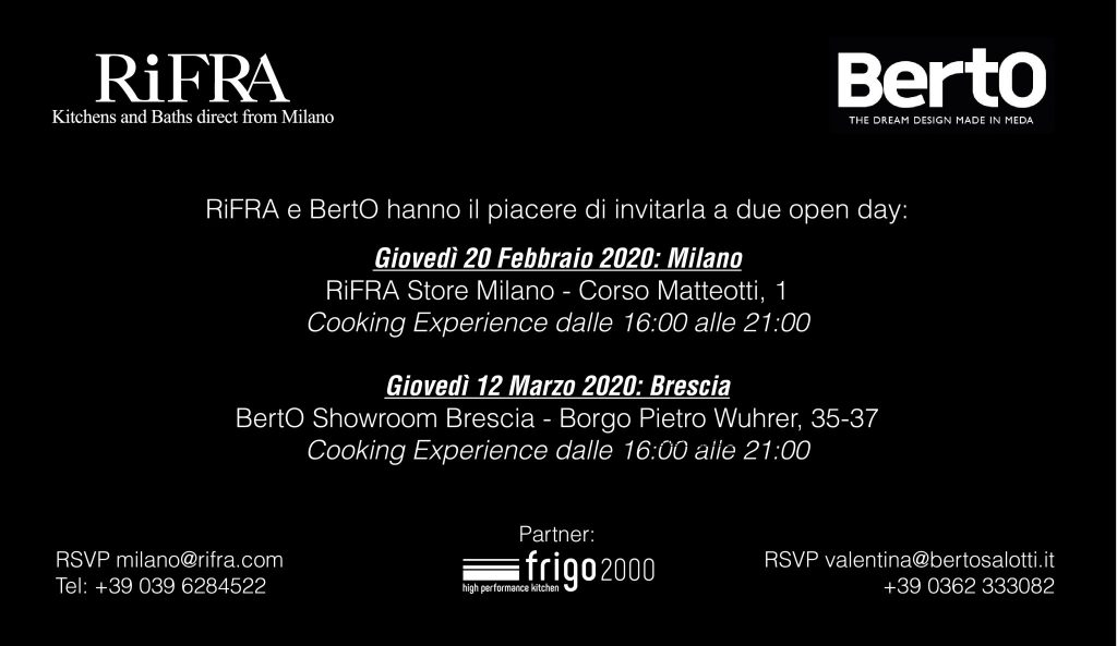BertO and Rifra Event: the pleasure of the palate meets the pleasure of comfort.