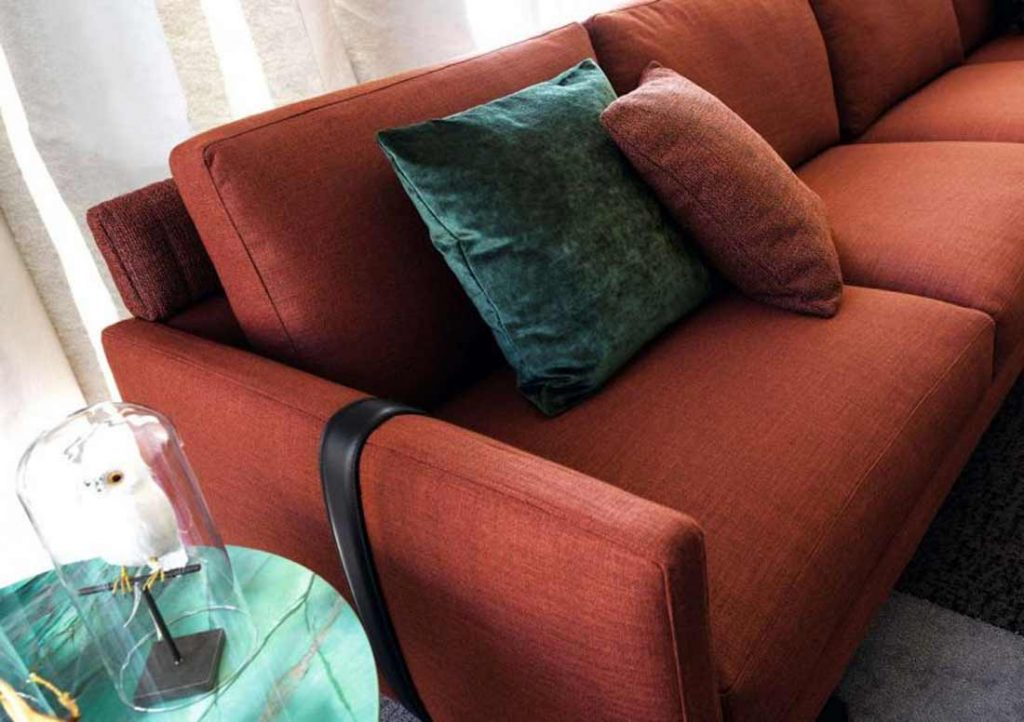 Dee Dee Sofa by BertO with decorative cushions