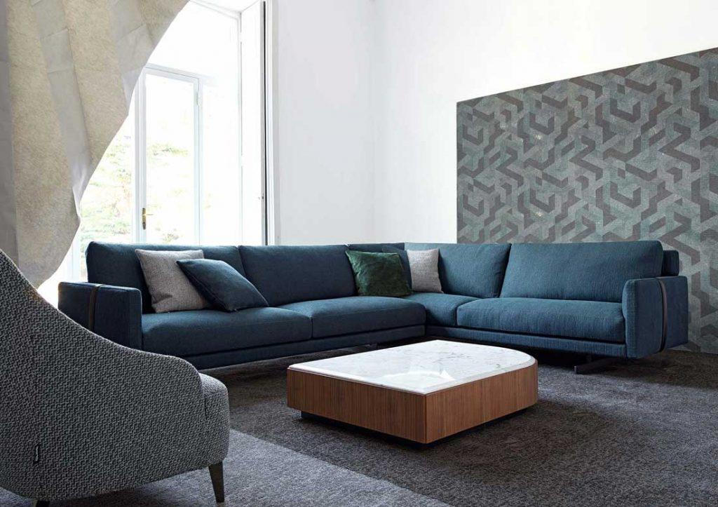 Sofa Dee Dee blue corner element sofa by BertO, the dream design made in meda