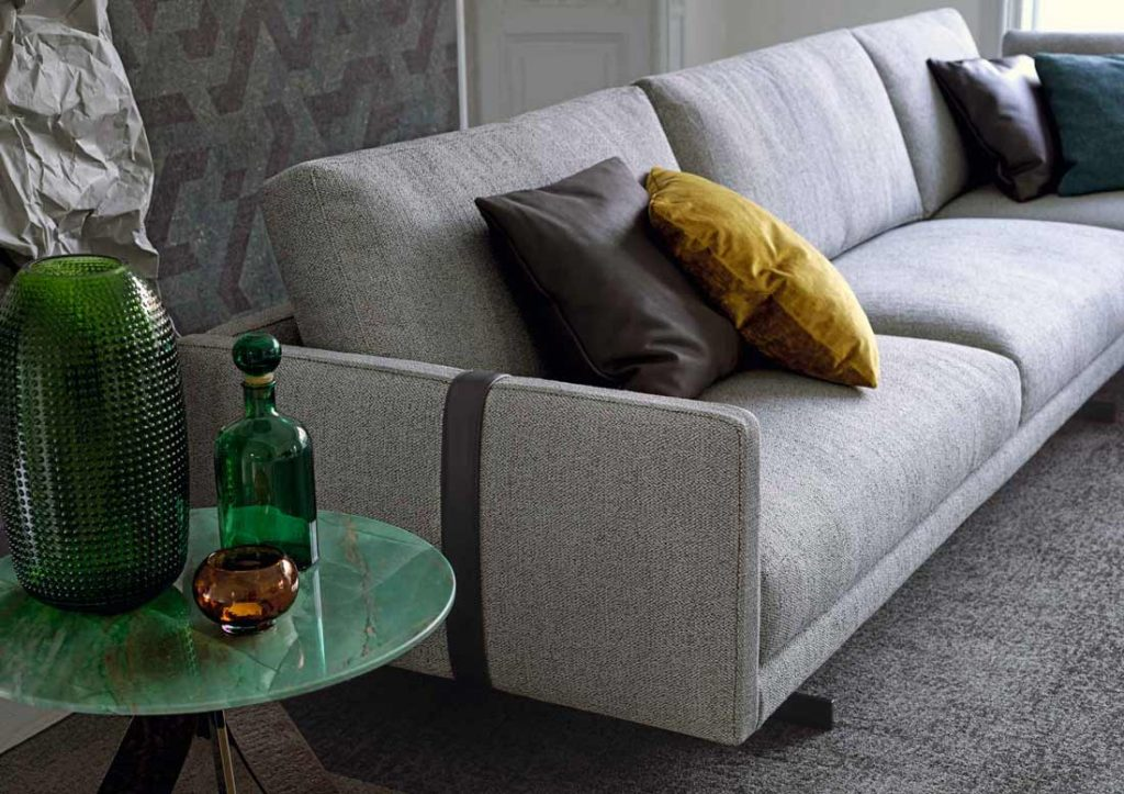 Dee Dee sofa by BertO with belt in contrasting colour
