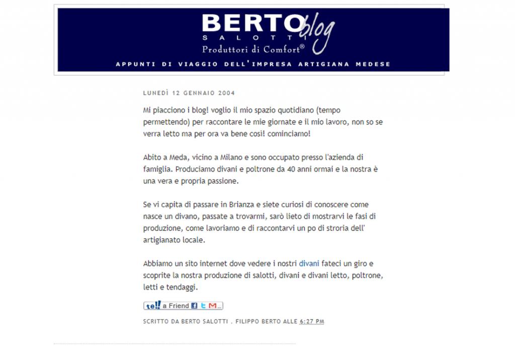 Berto Blog first Blog by Berto Salotti dated 2004