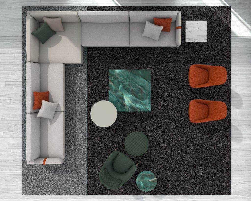 Dee Dee corner sofa by BertO with accessories from the BertO 2021 Collection