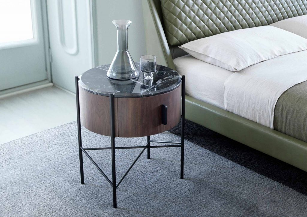 Chelsea bed in leather and Roi bedside table by BertO