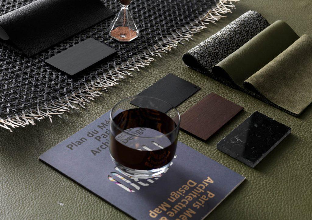 Chelsea bed in green leather moodboard - BertO
